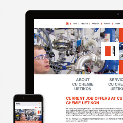 Website for a specialty chemicals company