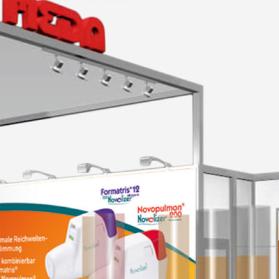 Exhibition stand graphics and roll-up display for a pharmaceutical company