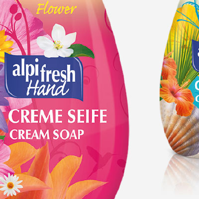 Packaging design for a line of liquid soaps