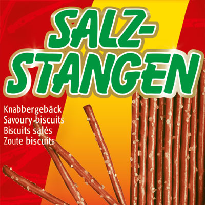 Packaging design for pretzel sticks for a worldwide discounter