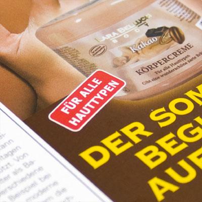 Anzeige für eine Pflegeserie in Kundenzeitschriften