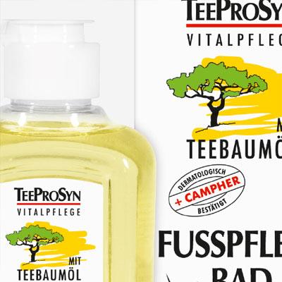 Verpackungsdesign für eine Pflegeserie mit Teebaumöl
